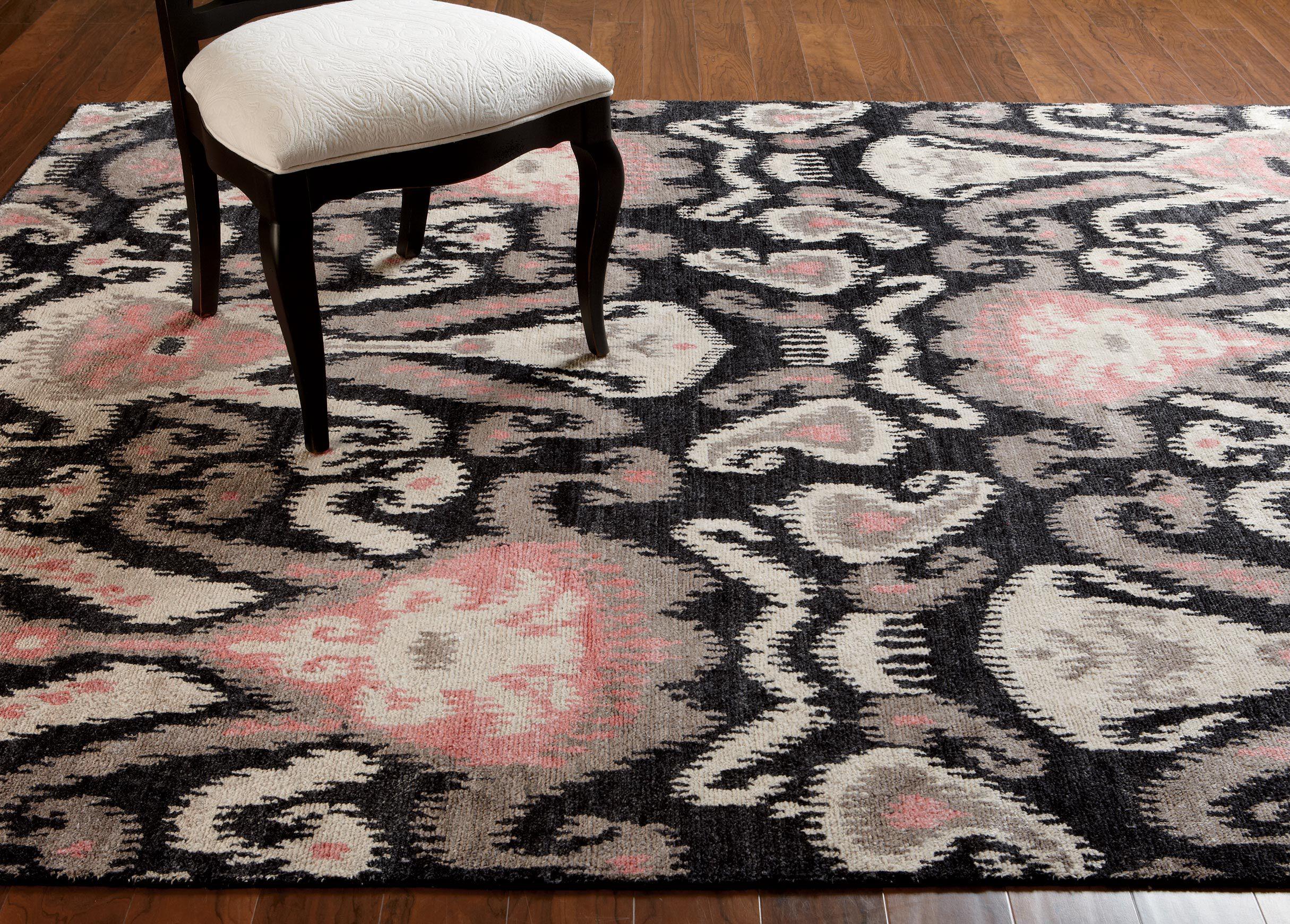 ikat rug, coral pink | rugs