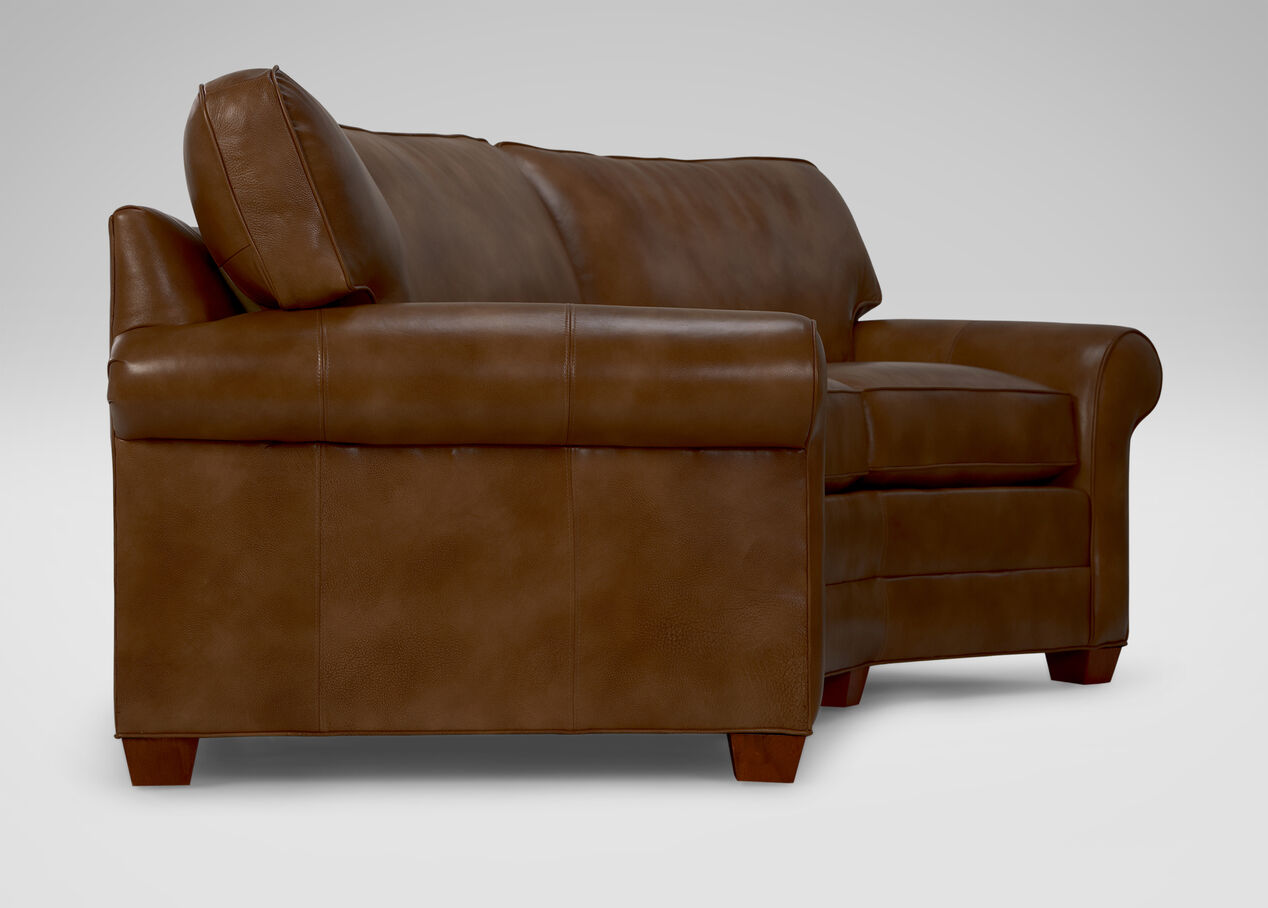 Bennett RollArm Conversation Leather Sofa Ethan Allen - Conversation sofa ethan allen bennett roll arm