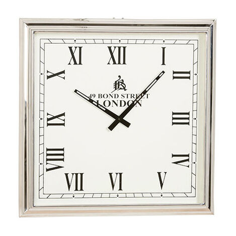 Nickel square wall clock large