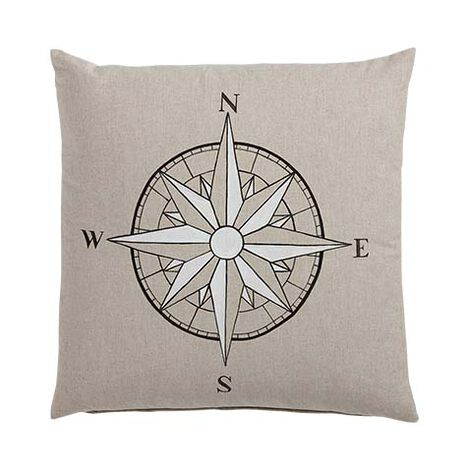 Hand-Painted Compass Rose Pillow ,  , large